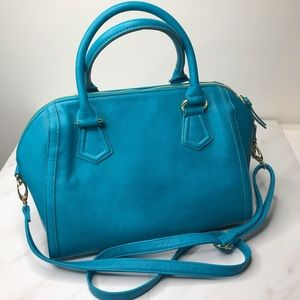 Kate Landry double handle turquoise handbag NWT